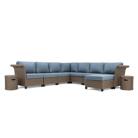 La-Z-Boy Nolin 7pc Weathered Brown Sectional Set with 2 Side Tables and 1 Ottoman, Sunbrella Spectrum Denim Fabric