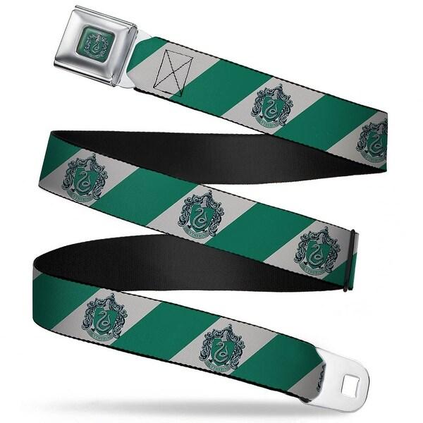 Slytherin Crest Full Color Green Slytherin Crest Diagonal Stripe Gray Green Seatbelt Belt