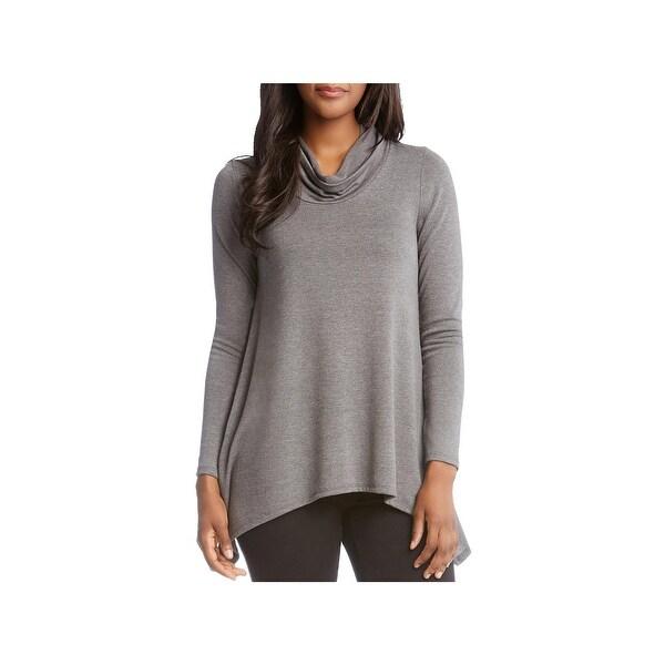 Karen Kane Womens Funnel-Neck Sweater Long Sleeves Handkerchief Hem