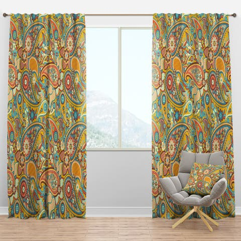 Designart 'Pattern Paisley' Vintage Blackout Curtain Panel