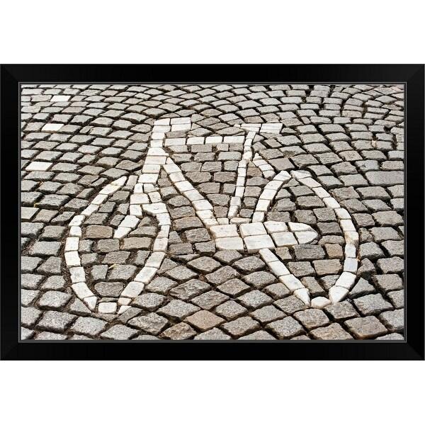 """Bicycle Path Sign, Maastricht, Limburg, Netherlands"" Black Framed Print"