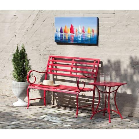 Metal Garden Bench, Red - 44x19.75x36.25