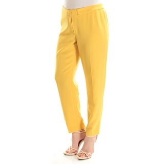 ANNE KLEIN $89 Womens New 1415 Yellow Flat Front Wear To Work Pants 10 B+B