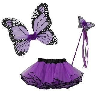 Little Girls Multiple Colors Butterfly Wings Wand Halloween Tutu 3 Pcs Set 2-4T