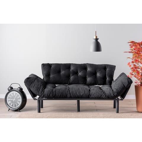 Neila 3 Seat Metal Frame, High Density Foam, Tufted Cushions Sofa, Arms Foldable.