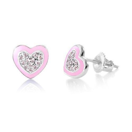 Kids Earrings - Sterling Silver with a White Gold Tone Pink Enamel CZ Heart Secu