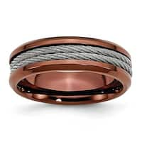 Chisel Stainless Steel Cable & Chocolate IP Plated 7mm Band