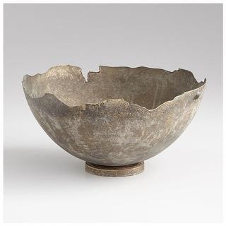 """Cyan Design Small Pompeii Bowl  Pompeii 9"""" Diameter Iron Decorative Bowl Made in India - Whitewashed"""