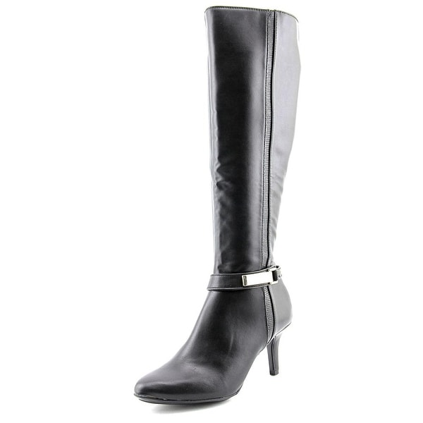 Alfani Jemsey Wide Calf Women Round Toe Synthetic Black Knee High Boot