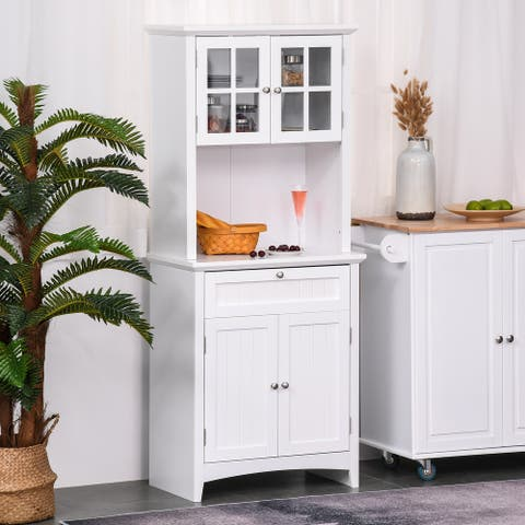 """HOMCOM Kitchen Buffet Hutch Wooden Storage Cupboard with Framed Glass Door, Drawer and Microwave Space - 27""""x15.75""""x64.5"""""""