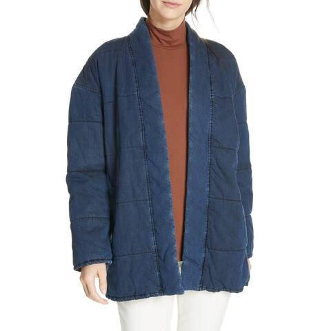 Eileen Fisher Womens Jacket Washed Blue Size Medium M Denim Puffer