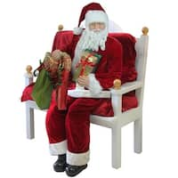 Huge 6 Foot Life-Size Decorative Plush Christmas Santa Claus Figure with Presents - Sitting or Standing - RED