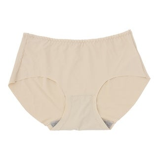 Women's Silky Crossover Front Low Rise Stretchy Underpants Briefs Beige (Size S / 4)