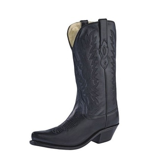 Old West Cowboy Boots Womens Snip Toe Lined Goodyear Black LF1510
