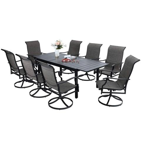 Sophia & William Patio Dining Set 9/7 Pieces Outdoor Metal Set, 8/6 Textilene Dining Swivel Chairs and 1 Expandable Table