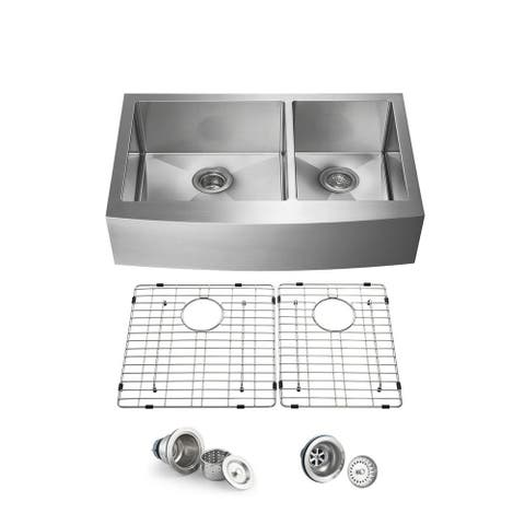 Inch Handcrafted Farmhouse Apron Double Bowl Real 16 gauge Stainless Steel Kitchen Sink with Strainer and Grid