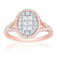0.93ct Natural G-H/SI1 Princess & Round Diamond Enggagement Ring - White G-H