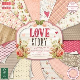 "First Edition Premium Paper Pad 12""X12"" 48/Pkg-Love Story, 16 Designs/3 Each"