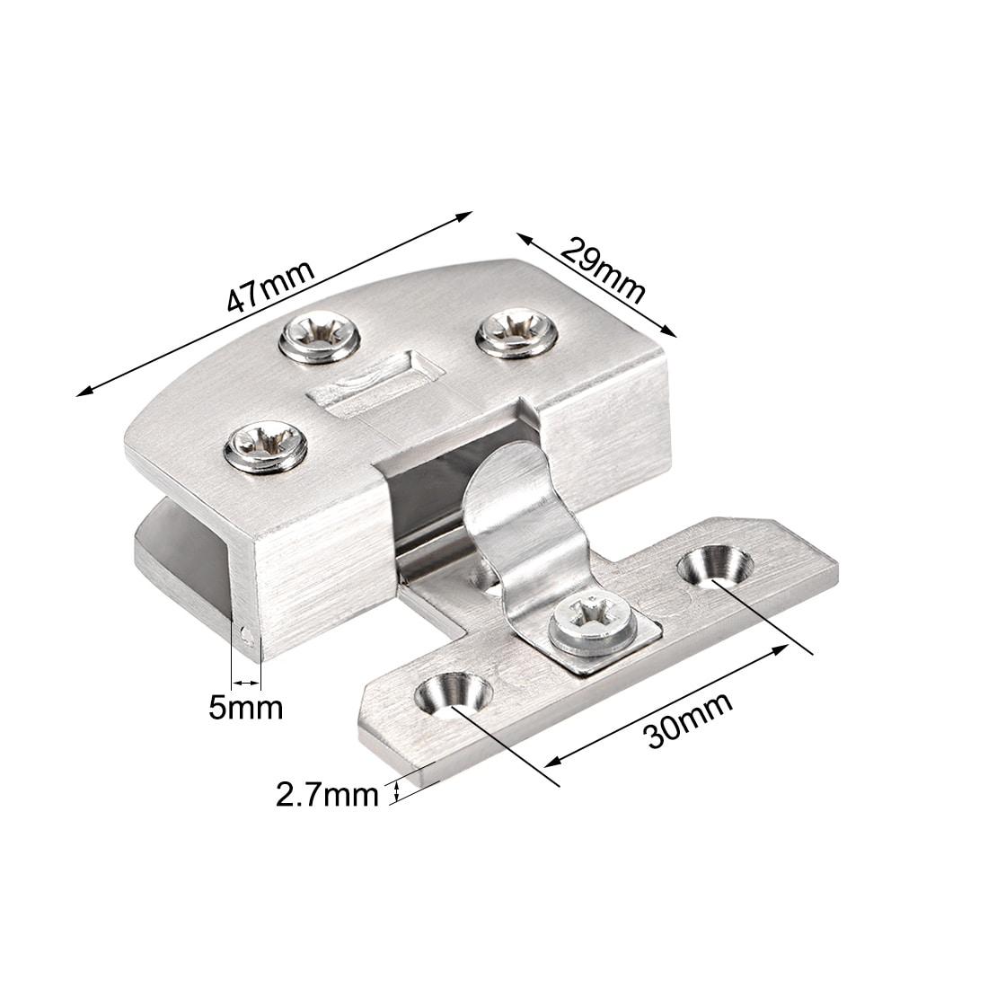 5mm-8mm Adjustable Rectangle Clamp Single Clip for Cabinet Cupboard Glass Door Hinges 90 Degree Glass Door to Glass Panel Set of 8 NUZAMAS Glass Door Hinges