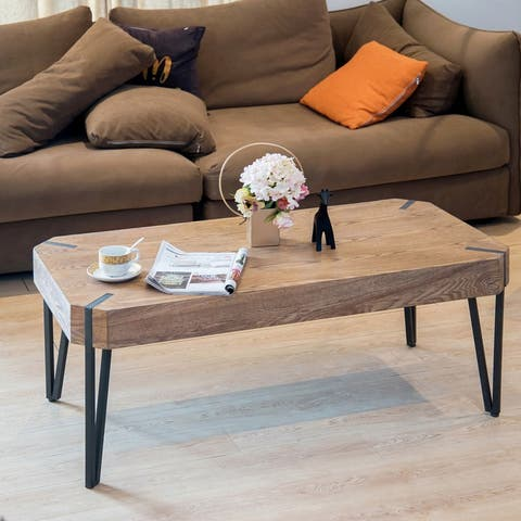 Coffee Table Wood and Metal Cocktail Table - 40.94 x 22.83 x 18.11