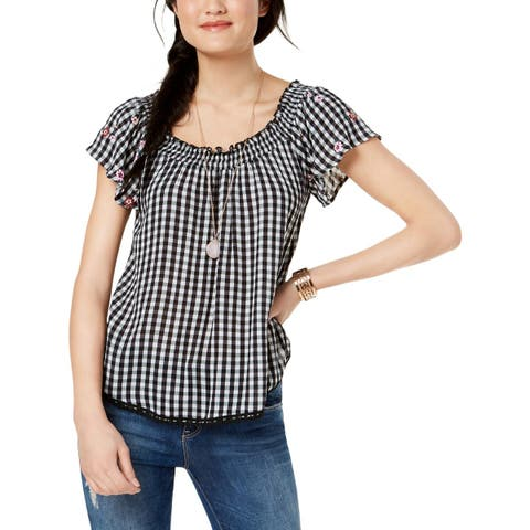 Self E Womens Juniors Peasant Top Plaid Embroidered