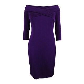 Lauren Ralph Lauren Women's Off-The-Shoulder V-Neck Dress - PLUM
