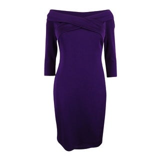 Lauren Ralph Lauren Women's Petite Off-The-Shoulder V-Neck Dress - PLUM