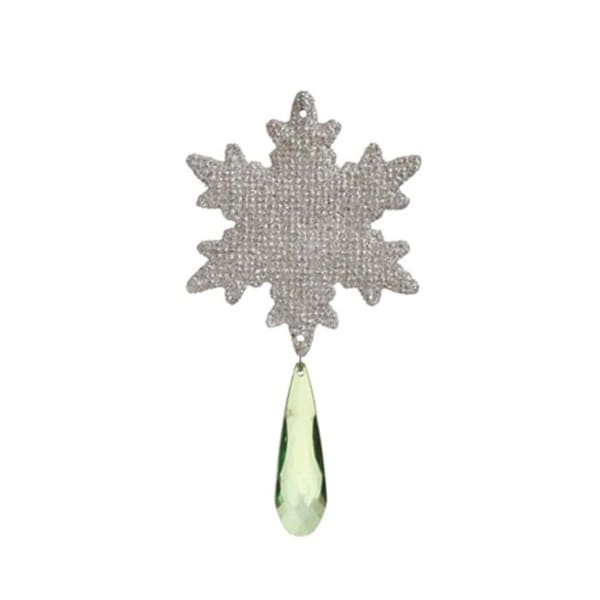 "6"" Good Tidings Silver Snowflake with Green Pendant Jewel Christmas Ornament"