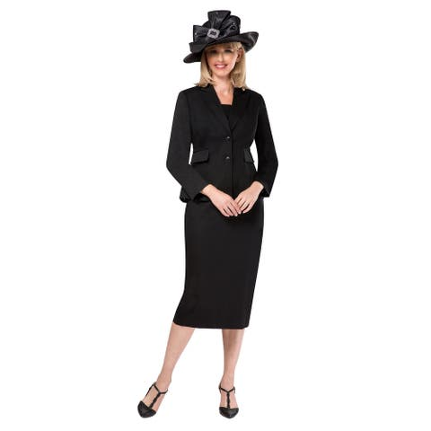 Giovanna Signature Women's 2-pc Black Tweed Fabric Skirt Suit