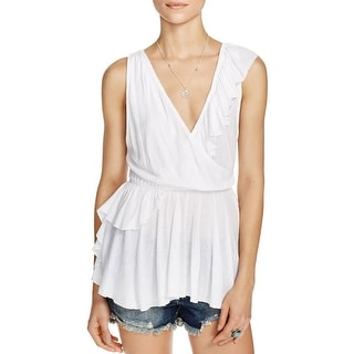 Free People Womens Float Away Blouse Textured Surplice