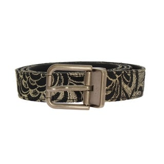 Dolce & Gabbana Black Leather Gold Brocade Belt - 100-cm-40-inches