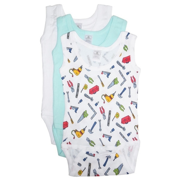 Bambini Baby Boys Multi Color Variety Sleeveless 3-Pack Tank Bodysuits