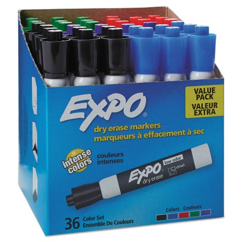 Low-Odor Dry-Erase Marker, Broad Chisel Tip, Assorted Colors, 36/Box - Clear