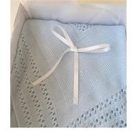 Soft & Cozy Newborn Knitted Receiving Blanket for Baby, Blue