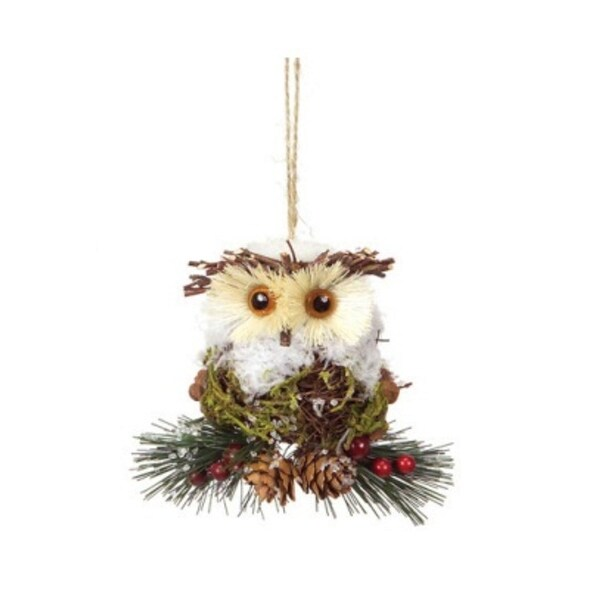 """4.5"""" Modern Lodge Iced Pine, Cone and Twig Rustic Owl Christmas Ornament - multi"""