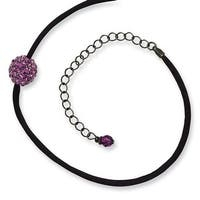 Black IP Purple Crystal Fireball on Satin Cord Necklace - 16in