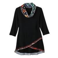 Women's Tunic Top - Black with Amber Geometric Accent Print Cowl Neck