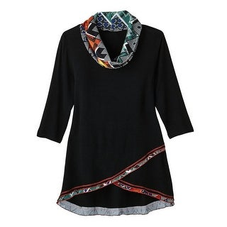 Women's Tunic Top - Black with Amber Geometric Accent Print Cowl Neck (More options available)