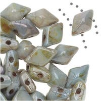 Czech Glass DiamonDuo, 2-Hole Diamond Shaped Beads 5x8mm, 12 Grams, Chalk Lumi Green