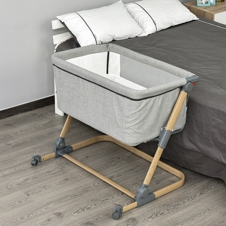 Link to Qaba Bassinet Baby Folding and Adjustable Baby Crib for 0-5 Months with Easy Moving Wheels & 5 Height Levels Similar Items in Kids' & Toddler Furniture