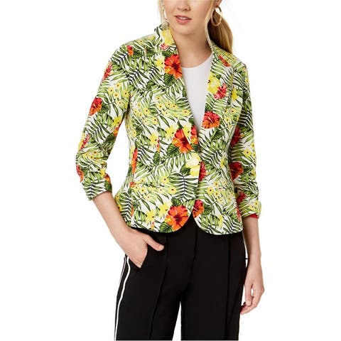 Xoxo Womens Ruched Sleeve One Button Blazer Jacket