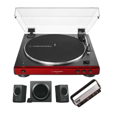 AudioTechnica AT-LP60XBT Bluetooth Turntable w/ Speaker & Vinyl Brush