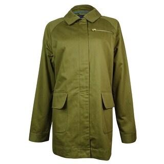 Tommy Hilfiger Women's Multi-Pocket Cotton Straight Jacket - Dark Olive