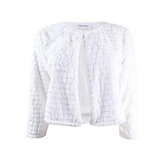 Calvin Klein Women's Petite Faux-Fur Cardigan (PM, Neutral) - Neutral - pm