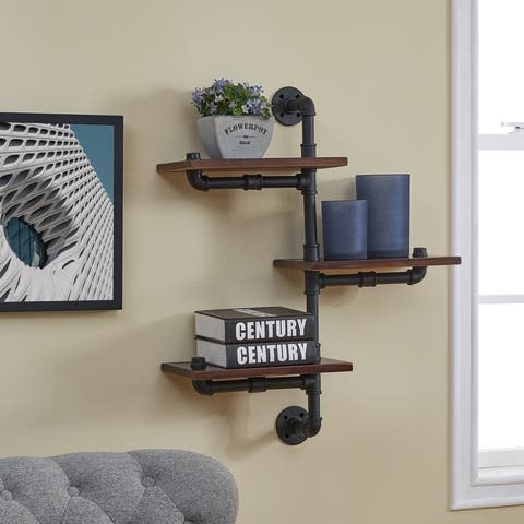 Danya B. 3-Tier Vertical Staggered Industrial Rustic Pipe Shelves
