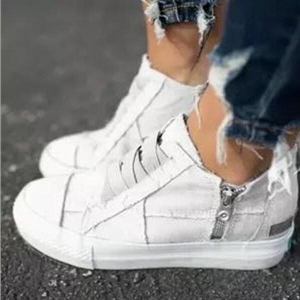 Low Heel Canvas Sneakers. Opens flyout.
