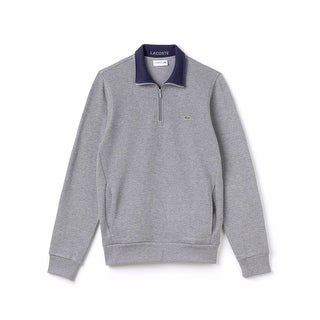 Lacoste NEW Asphalt Gray Navy Blue Mens Size 2XL Half-Zip Sweater
