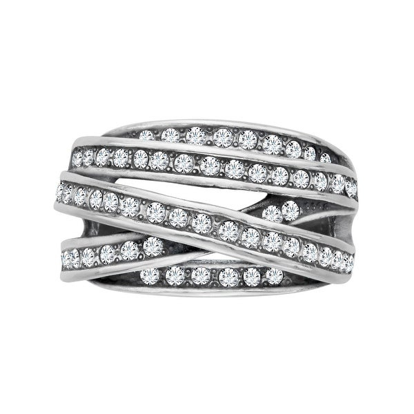 Van Kempen Art Nouveau Banded Ring with Swarovski Elements Crystals in Sterling Silver - White