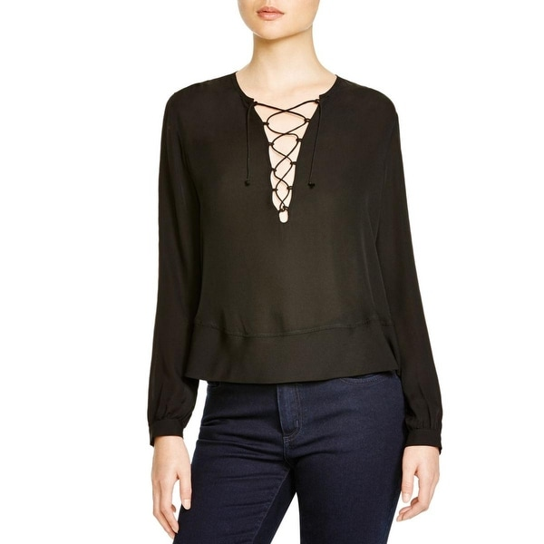 Rebecca Minkoff Womens Nell Blouse Silk Lace-Up