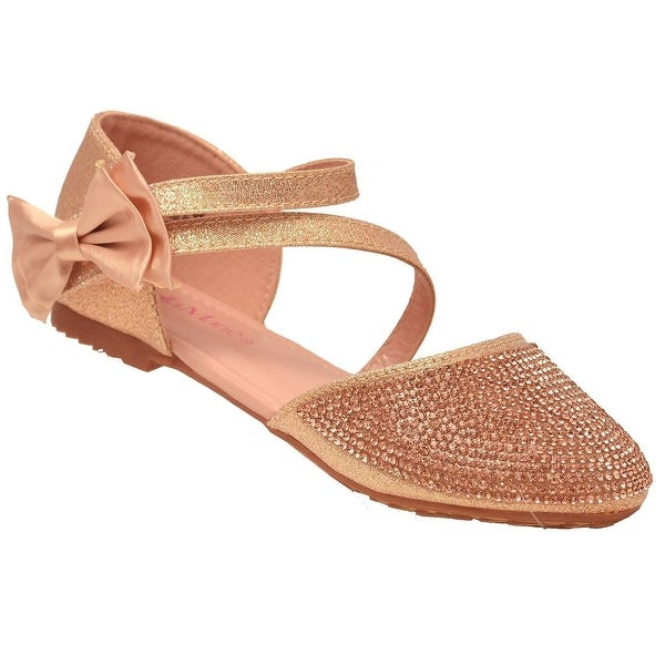 8b88ca479a35 Shop Bella Marie Girls Rose Gold Glitter Diagonal Ankle Strap Flats ...